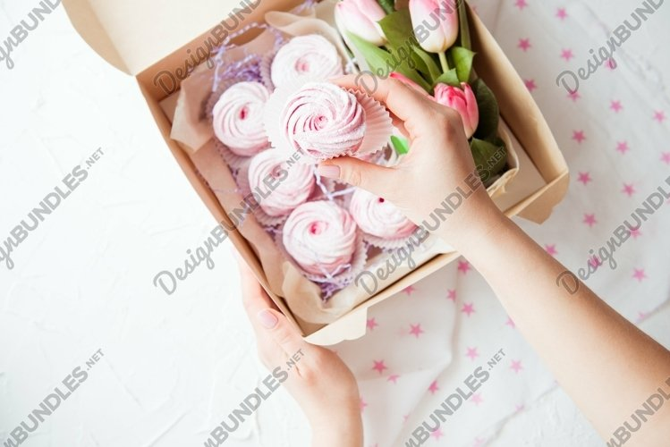 Pink gift marshmallow and flowers in a box example image 1