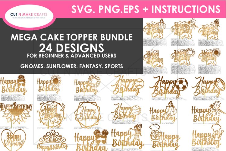24 Birthday Cake Topper SVG Bundle | cake topper template example image 1