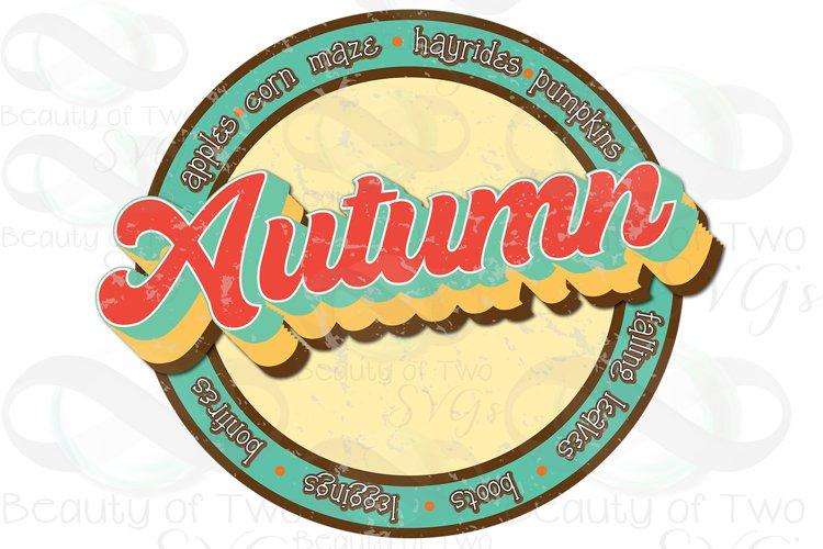 Autumn Logo png Grunge Retro Distressed Sublimation example image 1