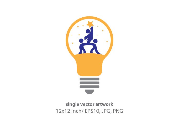 kids light bulb, vector example image 1