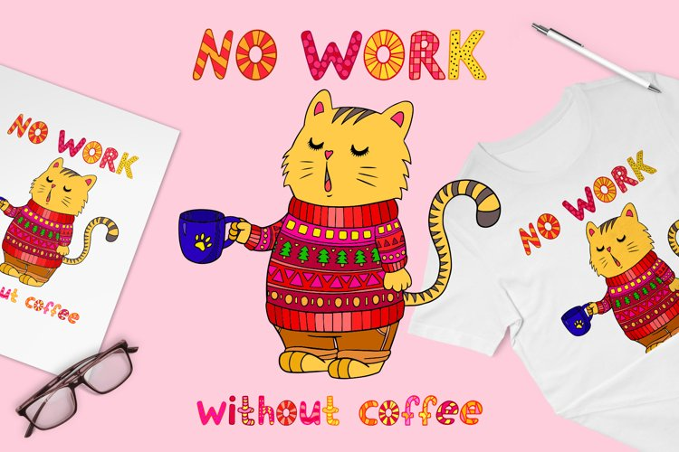 Cat and coffee positive phrase for sublimation design svg