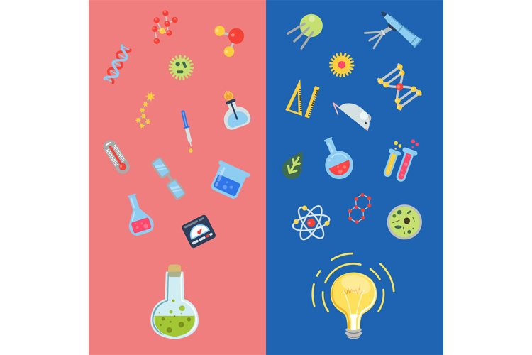 Vector flat style science icons lightbulb concepts example image 1