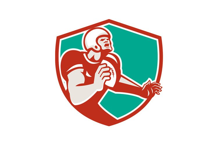 American Football Player Angry Shield Retro example image 1