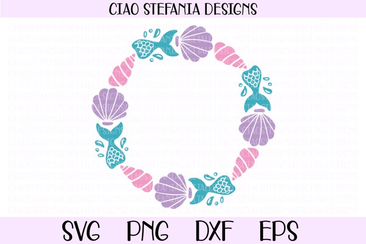 Mermaid Tail Wreath Monogram Shell SVG Cut File