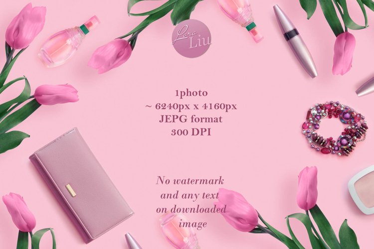 Beautiful pink tulips with leather purse and cosmetics example image 1