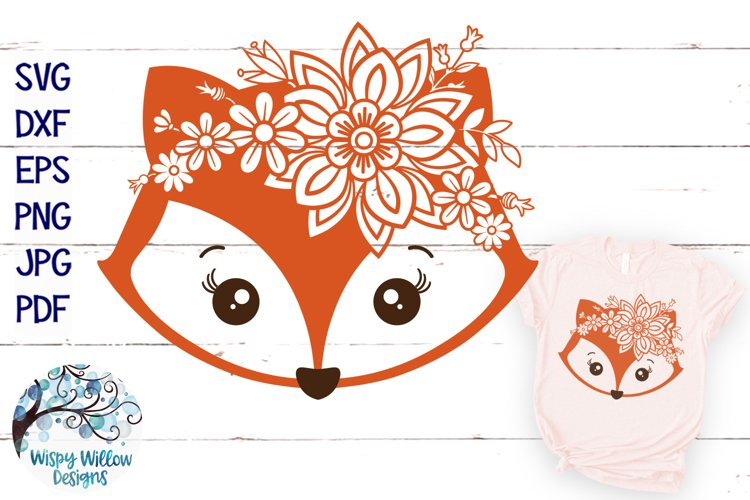 Floral Fox SVG | Girl Fox Face SVG Cut File