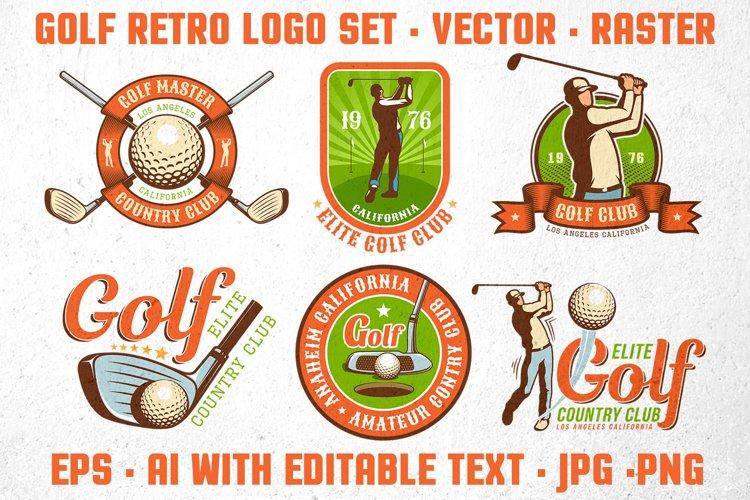Golf Retro Logo Set example image 1