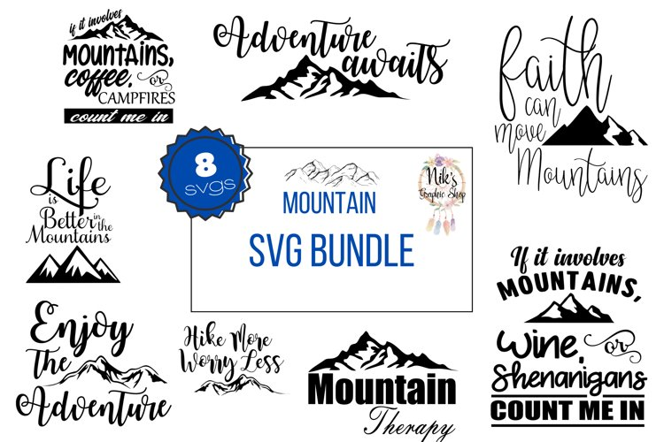 Mountains Svg, Mountain Bundle 8 for 1, Mountains Svg