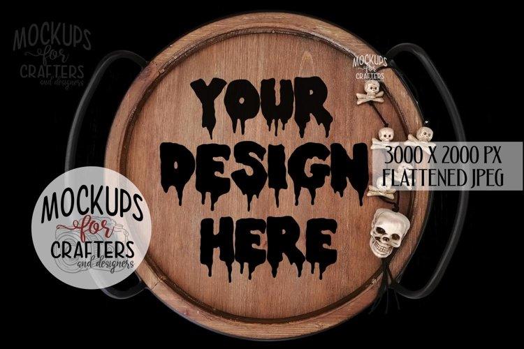 Round Wood Tray, Halloween, Black background, Mock-Up example image 1