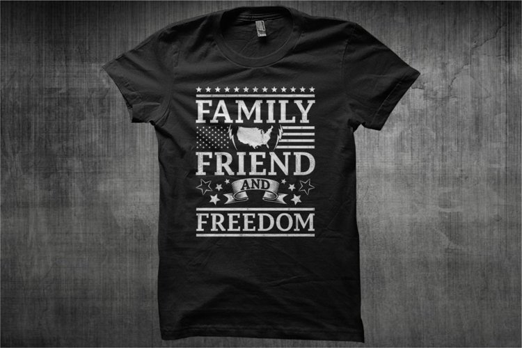 Typography American Themes - Family Friend And Freedom
