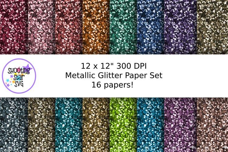 Metallic Glitter Digital Paper Set - 16 Papers
