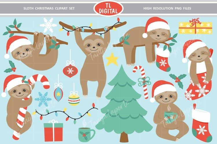 Sloth Christmas Clipart Set - 21 Christmas Graphics