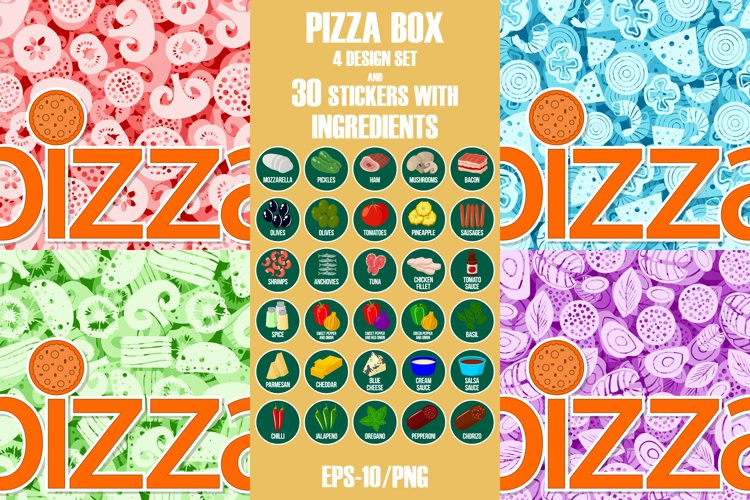 Pizza box design set with stickers.