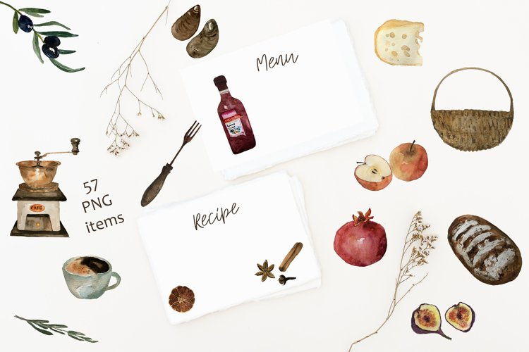 Menu Recipe Creator Kit, Watercolor Food Products