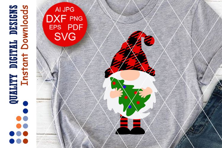 Merry Christmas Gnome svg Buffalo plaid vector design