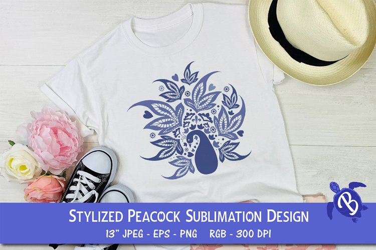 Sublimation Design For T Shirts Stylized Peacock example image 1