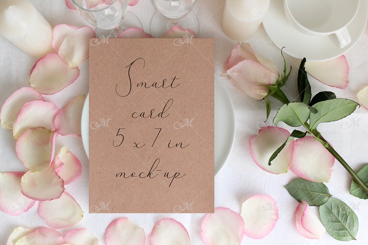 Table card Mockup with a Rose. PSD+JPG example image 1