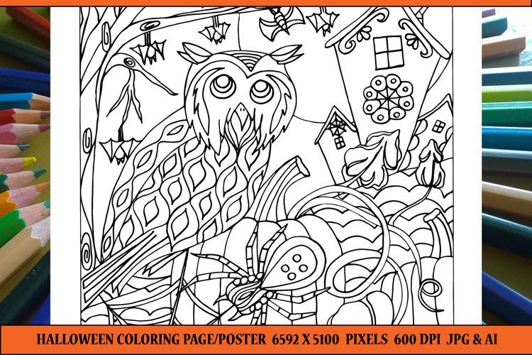 Halloween Coloring Book Page/Poster example image 1