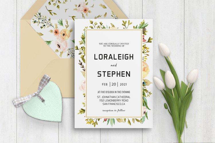 Beautiful Wreath Wedding Invitation Template example image 1