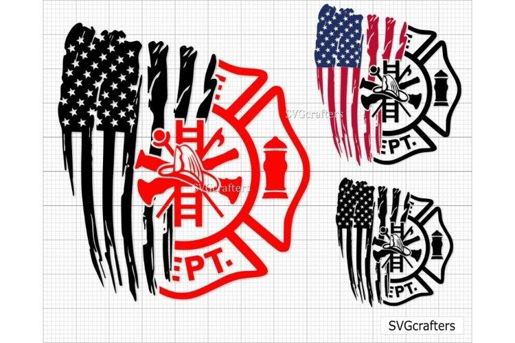 Distressed firefighter Flag svg, Firefighter svg,Fireman svg