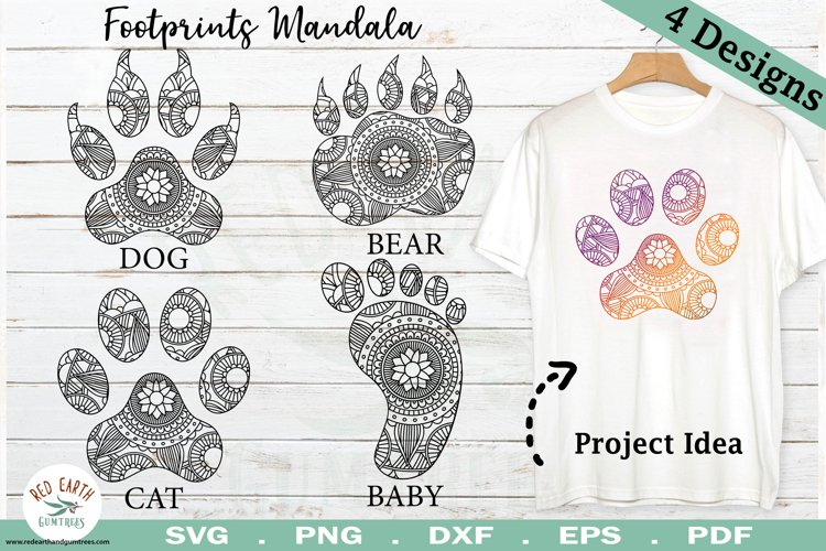 Animal paws mandala bundle,paws Zentangle bundle SVG,PNG,DXF example image 1