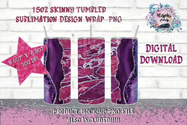 15oz  Sublimation  Pink Glitter Vein  Skinny tumbler Design example image 1