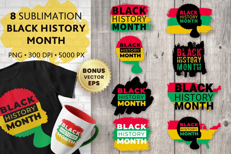 Black History Month Sublimation, African American Bundle PNG example image 1