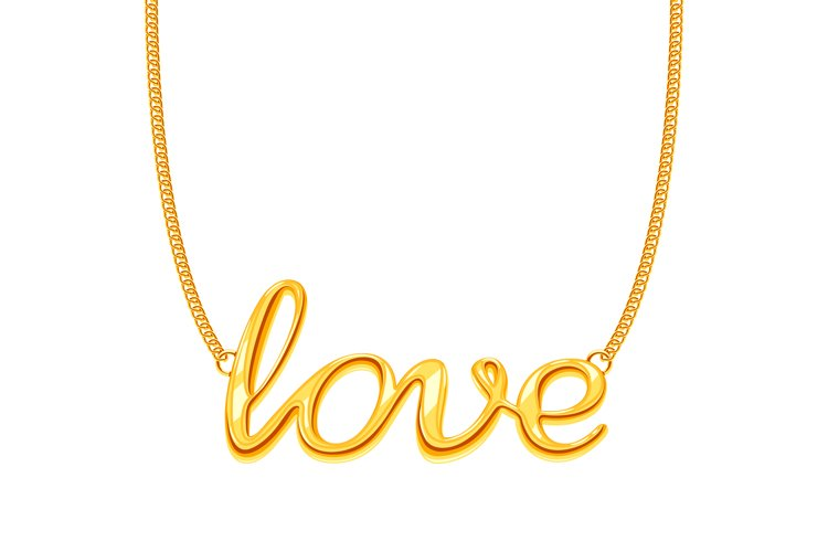 Gold chain necklace with LOVE word pendant vector illustrati example image 1