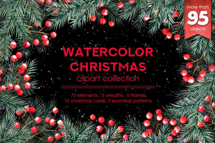 Watercolor Christmas cliparts example image 1