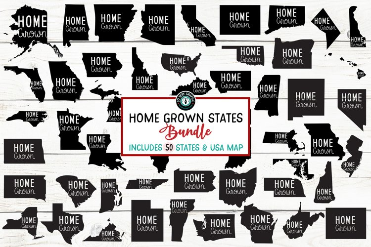 Home Grown 50 States & USA Map Bundle of SVG Designs example image 1