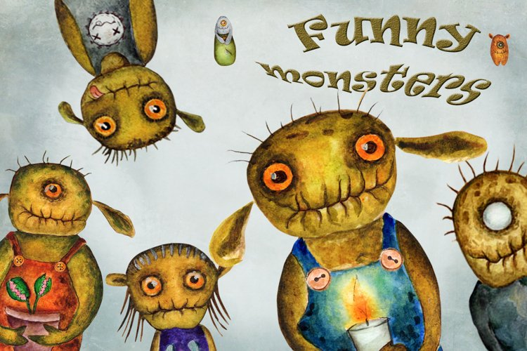 Watercolor collection of funny monsters
