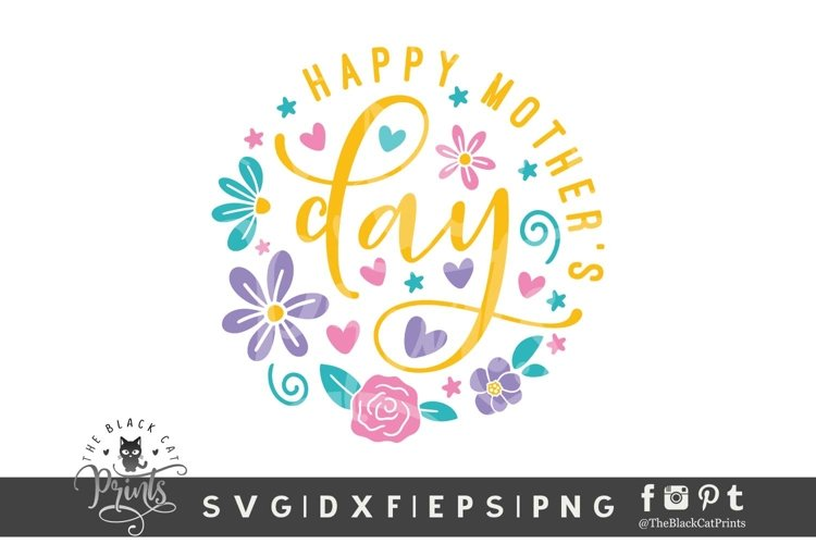 Happy Mothers Day SVG | Floral Round Ornament SVG | Mom SVG