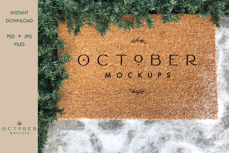 Christmas Doormat Mockup | JPG and PSD smart object example image 1