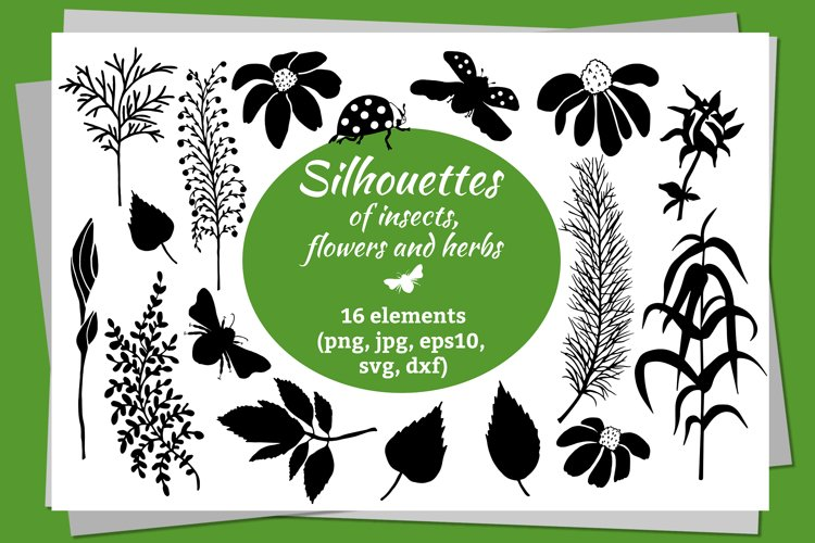 Digital silhouettes of flowers and insects in SVG, EPS10 ets example image 1