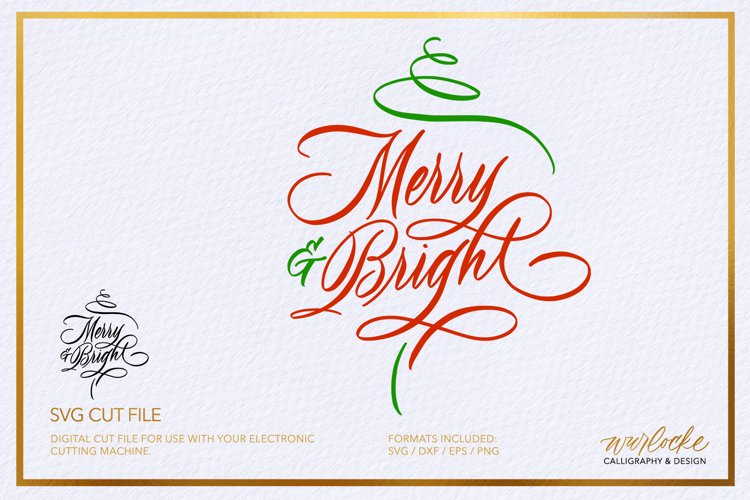 SVG Merry & Bright Christmas Cut File example image 1