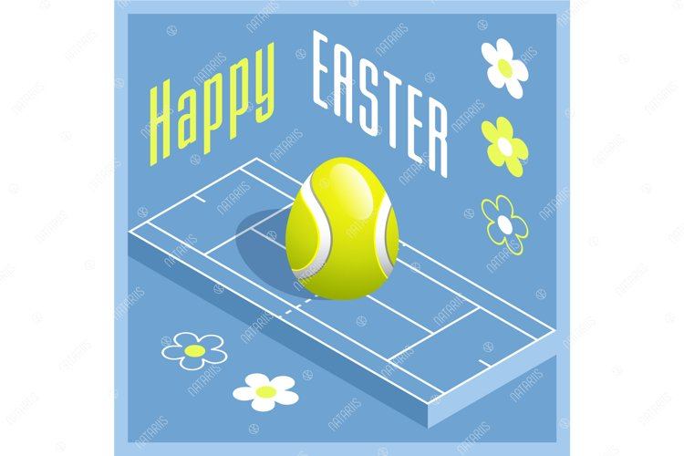 Easter sports greeting card. Tennis. example image 1