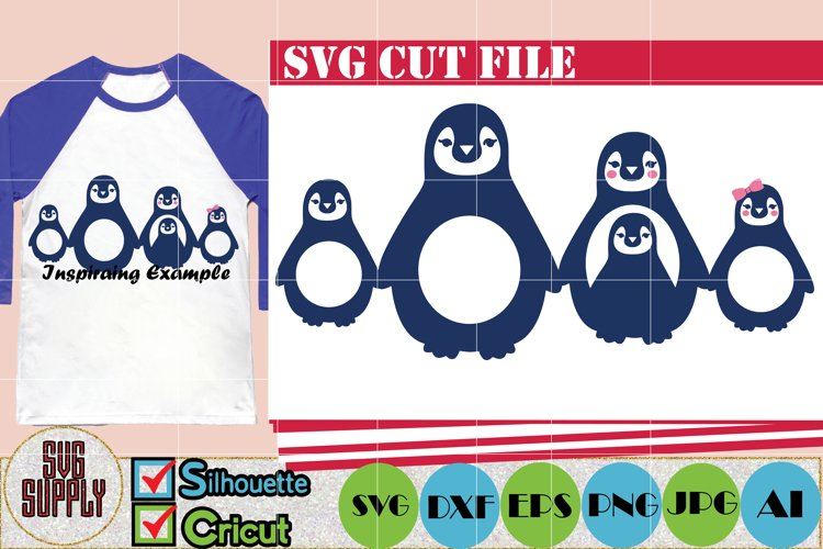 Penguin Family SVG Cut File example image 1