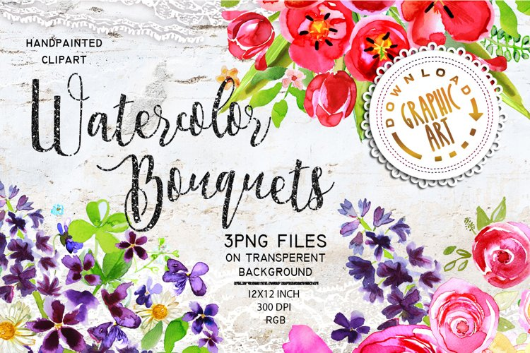 Watercolor Bouquet clipart example image 1