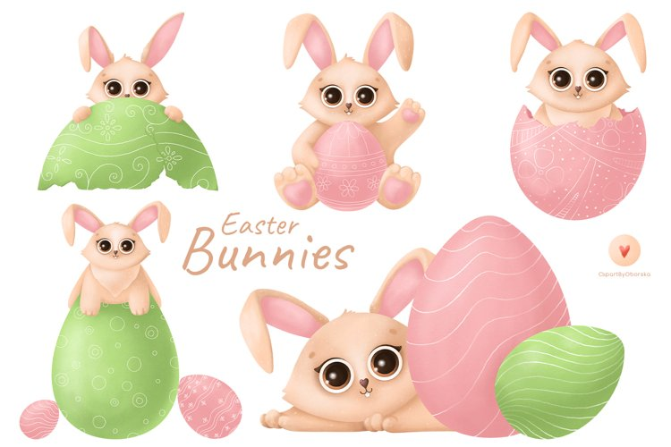 Easter Bunnies Clipart, Cute Bunny Rabbit PNG