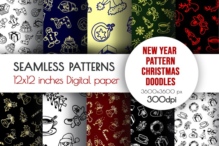New Year doodle clipart. Christmas seamless designs example image 1