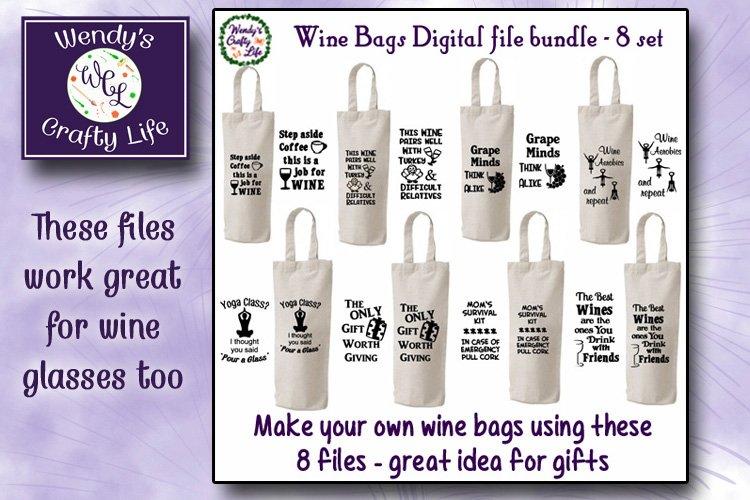Wine SVG - Wine Bag Bundle - 8 SVG & PNG digital files