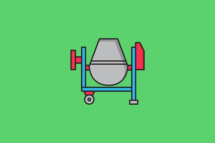 concrete mixer filled outline Icon. construction and tool example image 1