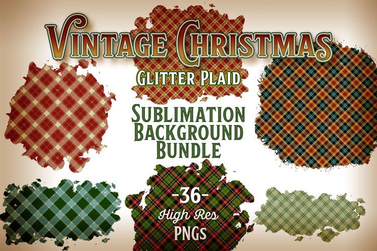 Vintage Christmas Sublimation Background - Glitter Plaid