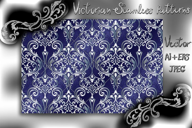 Victorian seamless pattern with ornament in vintage style. example image 1