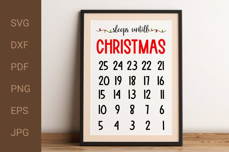 Christmas Countdown SVG. Advent Calendar SVG. DXF. Cut File. example image 1