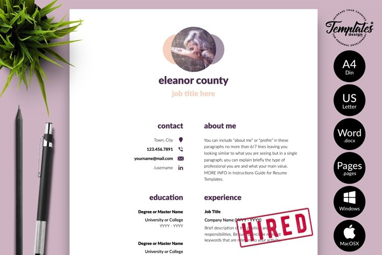 Simple Resume CV Template for Word & Pages Eleanor County example image 1