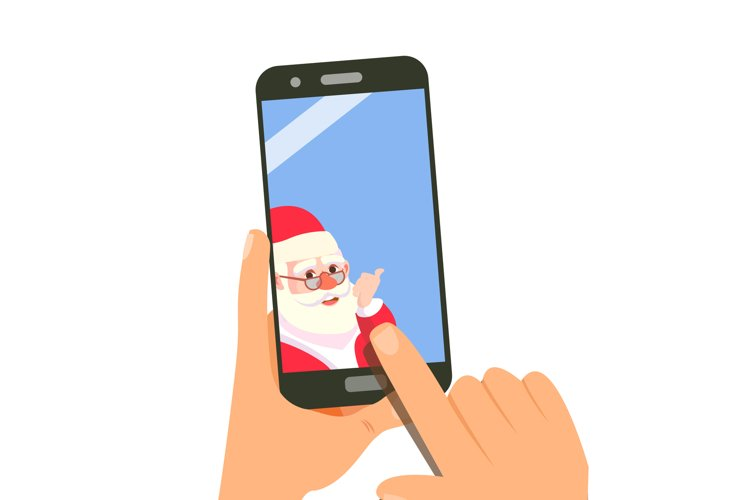 Smart Phone With Santa Vector. Merry Christmas And Happy New