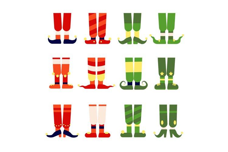 Elf feet and legs. Christmas santa elves stocking in shoes b