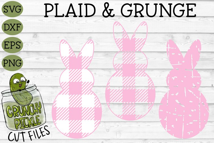 Plaid & Grunge Spring Easter Bunny 1 SVG Cut File example