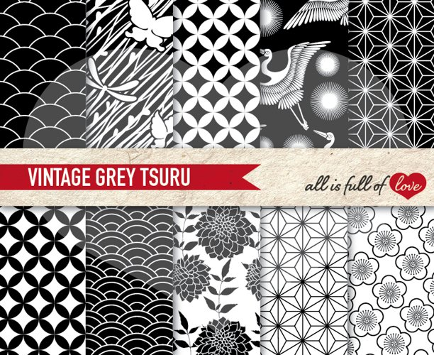 Japanese Graphics Black and White  Digital Background Patterns example image 1